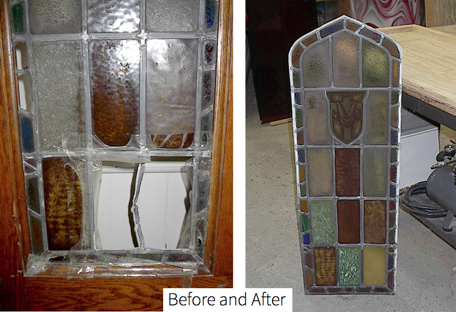 A shattered stained glass piece, now repaired