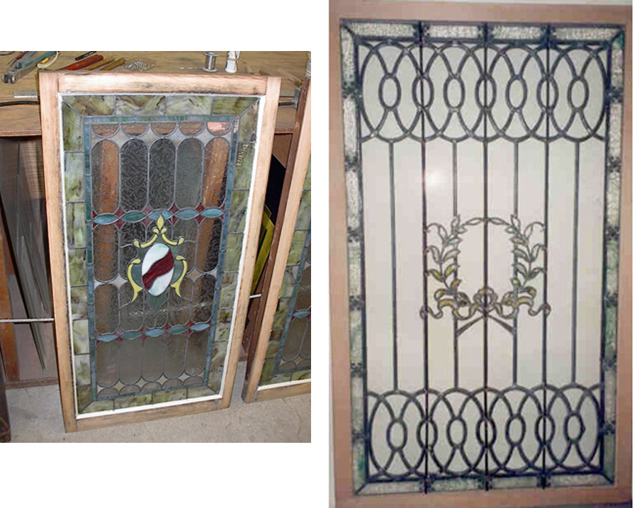 Two stained glass pieces that got repaired at our shop