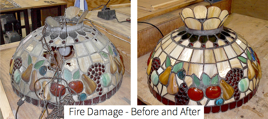 A favorite of ours. This beautiful lamp was repaired from horrible condition after considerable fire damage, now like new.